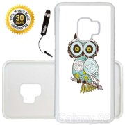 Custom Galaxy S9 Case (Stylish Owl) Edge-to-Edge Rubber White Cover Ultra Slim | Lightweight | Includes Stylus Pen by Innosub