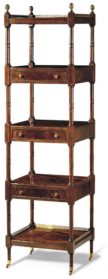 Etagere Scarborough House Crotch Mahogany 5-Shelf Drawers, Brass Trim, Casters by