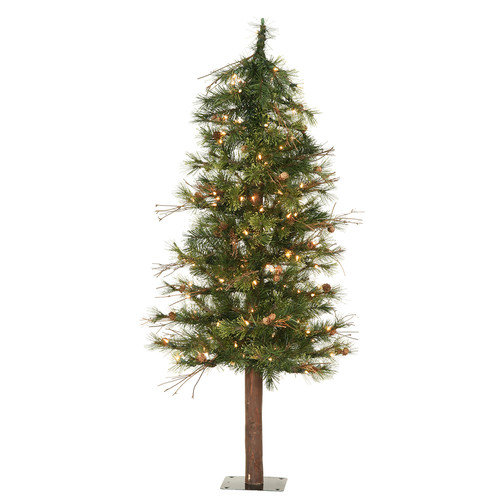 Vickerman Mixed Country Alpine 6' Green Artificial Christmas Tree with 200 Clear Lights