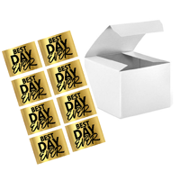 """CakeSupplyShop 24pk 4 x 4 x 3"""" White Gift Candy & Party Favor Boxes with Best Day Ever Stickers For Wedding Birthdays Graduations Baby Showers"""