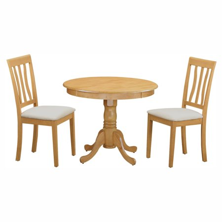 East West Furniture Antique 3 Piece Pedestal Round Dining Table Set with Microfiber (Brass Set Pedestal)