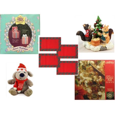 Sitting Gingerbread (Christmas Fun Gift Bundle [5 Piece] - 1994 Precious Moments Pop up  Ornament - Forest Friends Gingerbread Tree Resin Figurine -  Red Plaid Cloth Placemats Set of 4 - Soft & Cuddly  Dog Sitting  12