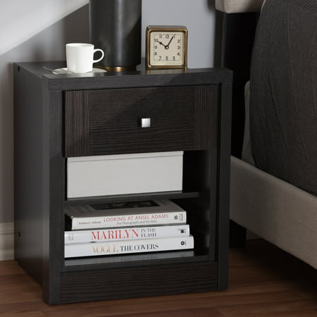 Baxton Studio Danette Modern and Contemporary Wenge Brown Finished 1-Drawer