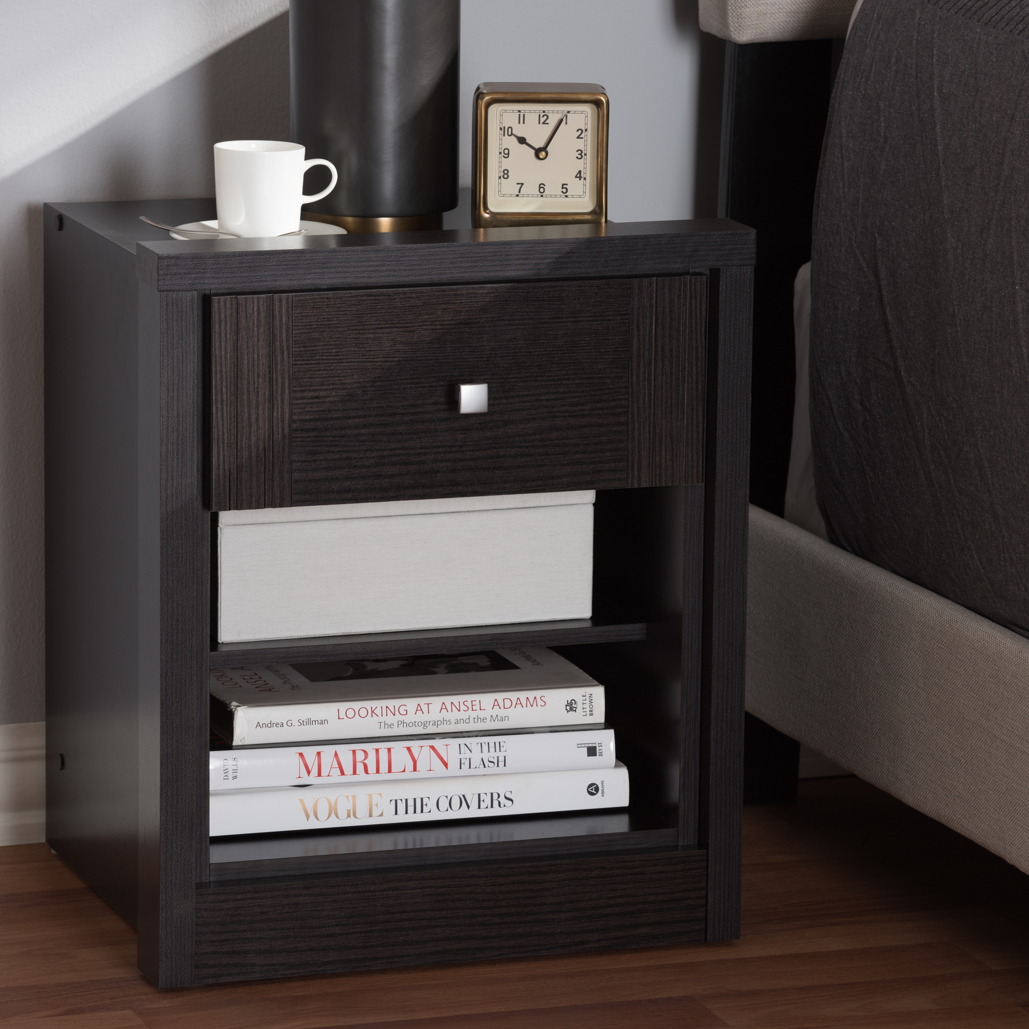 Baxton Studio Danette Modern and Contemporary Wenge Brown Finished 1-Drawer Nightstand
