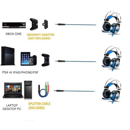 EACH GS500 Stereo Bass Surround Gaming Headsets for PS4 New Xbox One PC with Mic - image 6 de 8