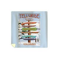 Telluride, Colorado - Signpost - Lantern Press Artwork (88x88 Queen Microfiber Duvet Cover)