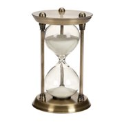 """Decmode - Antique Style Brushed Gold Metal Hourglass with White Sand 15 Minute Timer, 4"""" x 7"""""""