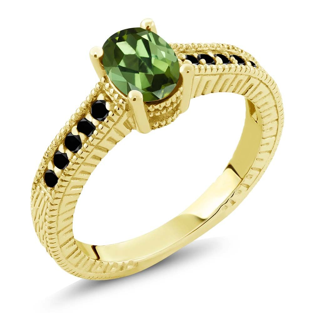 1.18 Ct Oval Green Tourmaline Black Diamond 18K Yellow Gold Engagement Ring by