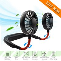 Portable USB Charging Fan Neckband Dual Cooling Mini Fan Lazy Neck Hanging Style