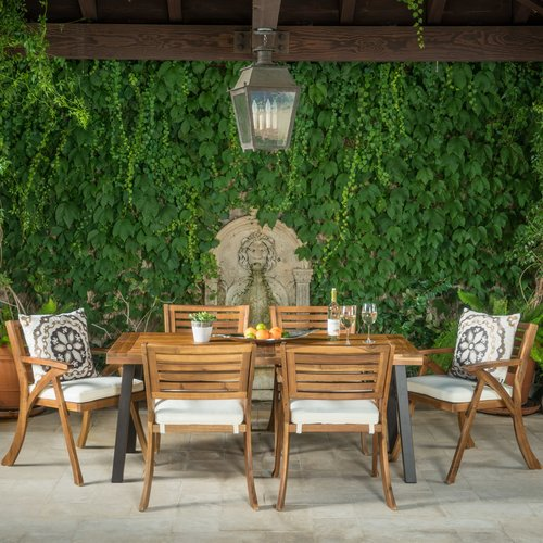 Union Rustic Sharie 7 Piece Dining Set With Cushions