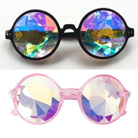 C.F.GOGGLE 2Packs Goggles Rainbow Kaleidoscope Goggles Prism Diffraction Crystal Glass Lens Carnival Clear Pink (Kaleidoscope Prism Glasses)