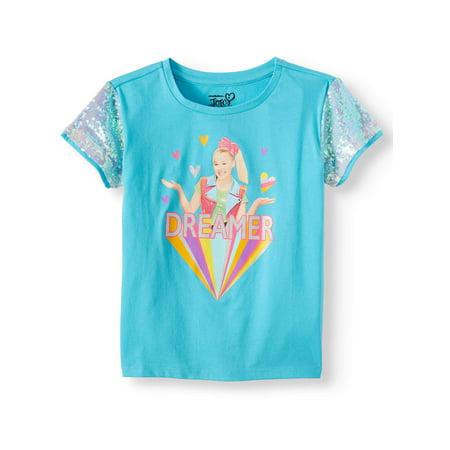 Nickelodeon JoJo Siwa Sequin Sleeve Graphic T-Shirt (Little Girls & Big Girls) Little Kids Teal Apparel