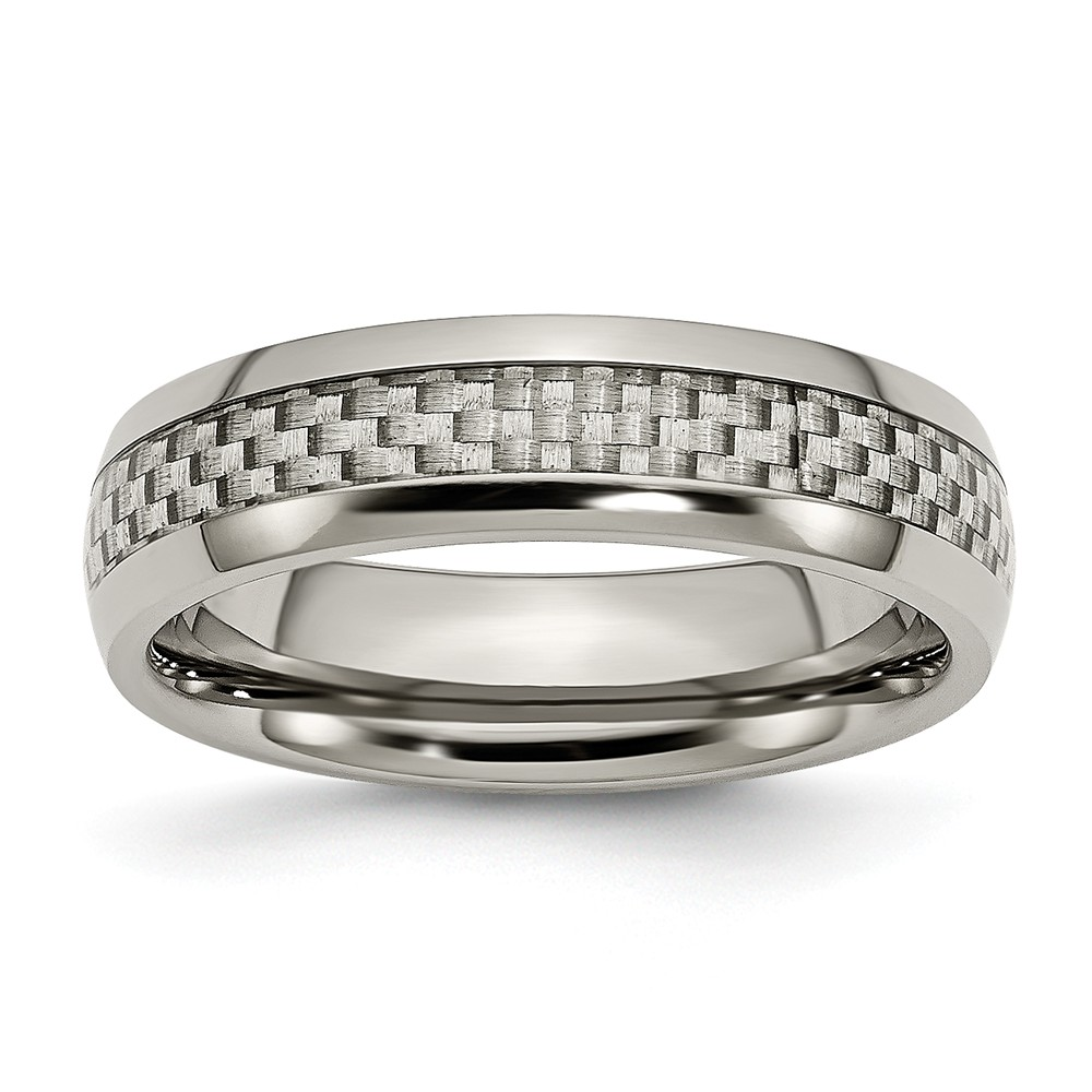 Titanium and Grey Carbon Fiber 6mm Polished Band Ring - Ring Size: 6 to 13