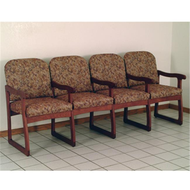 Wooden Mallet DW7-4MHWR Prairie Four Seat Chair with Center Arms in Mahogany - Watercolor Rose