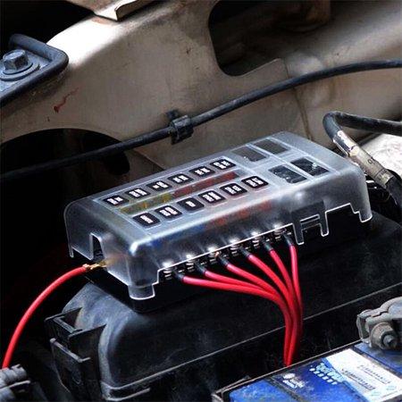 12 Way Blade Fuse Box & Bus Bar Car Kit With Cover Marine FuseBox Holder 12V 32V ()
