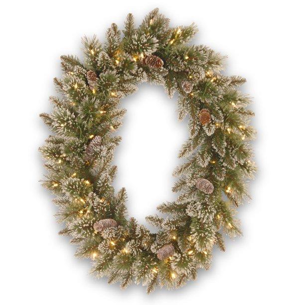 Christmas Tree Disposal San Diego: 30 X 21 In. Glittery Bristle Pine LED Pre-Lit Battery