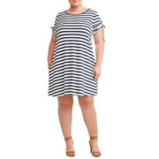 Womens  Plus Size Short Sleeve Knit Dress Blue Stripe (5X)