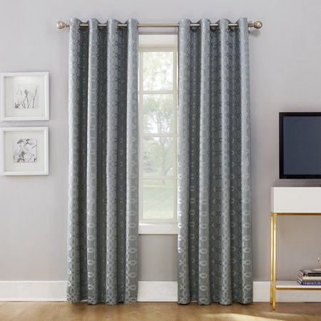 Lined Window Curtain Panel - Sun Zero Rowes Woven Trellis Blackout Lined Grommet Curtain Panel