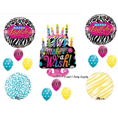 Zebra Cake Make A Wish BIRTHDAY PARTY Balloons Decorations Supplies 16th 13th Teenager Hippy](16th Birthday Decorations)