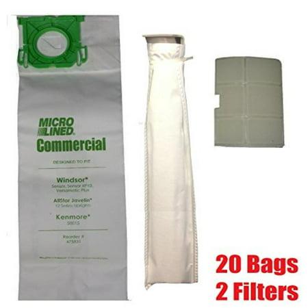 MicroLined DVC Sebo, Windsor Service Box Vacuum Bag and Filter Kit. 20 Bags + 2 Filters. ()