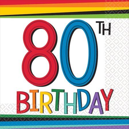 Colors For 80th Birthday (Rainbow 80th Birthday Beverage Napkins (16)