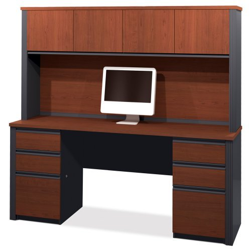 Bestar Prestige Plus Computer Desk and Hutch - Bordeaux