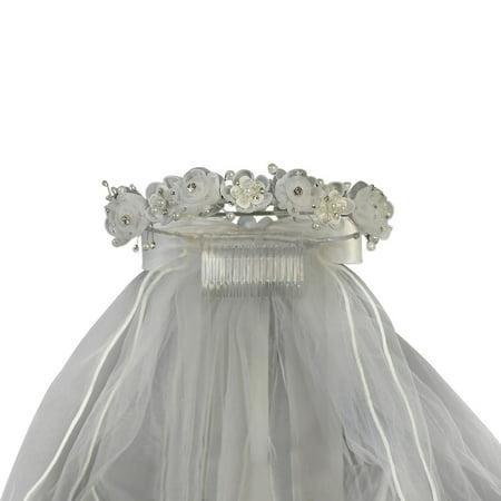 Girls White Organza Flowers Pearls Headpiece 24