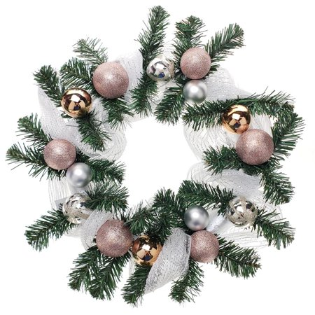 Decorated Mesh Ribbon & Rose Gold Spheres Christmas Wreath, Green/Silver, 21-Inch ()