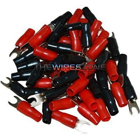 8 Gauge Barrier (The US810-50 8 Gauge #10 Nickel Barrier Spade Terminal (25 pairs), Color: (25) Red + (25) Black By Install)
