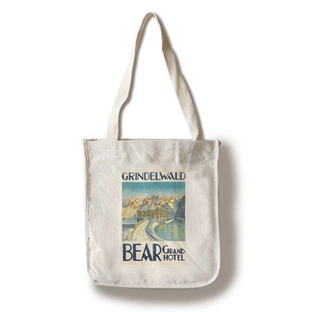 Grindelwald - Bear Grand Hotel Vintage Poster (artist: Enblom) Switzerland c. 1924 (100% Cotton Tote Bag - Reusable) - Hotel Welcome Bags