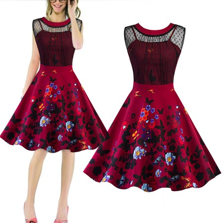 Sexy Dance High Quality Claret-red Lace Spliced Butterfly Print Evening Vintage style Swing Mini Dress US Szie 2-4-6-8-10