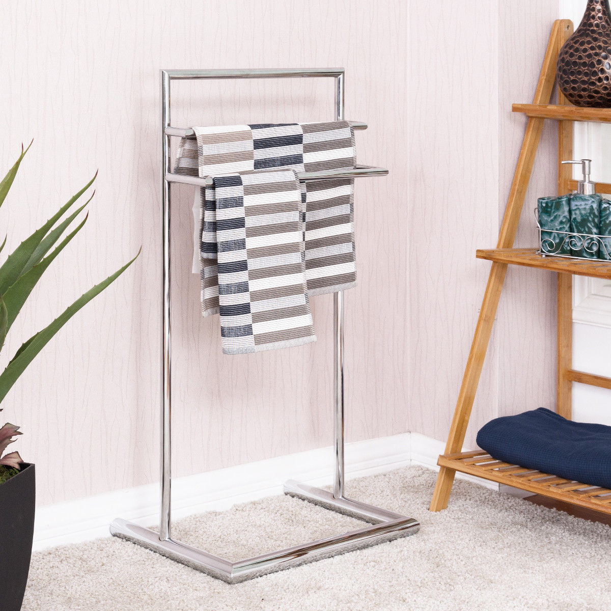 Costway 3 Tier Metal Towel Rack Holder Floor Stand Free Standing