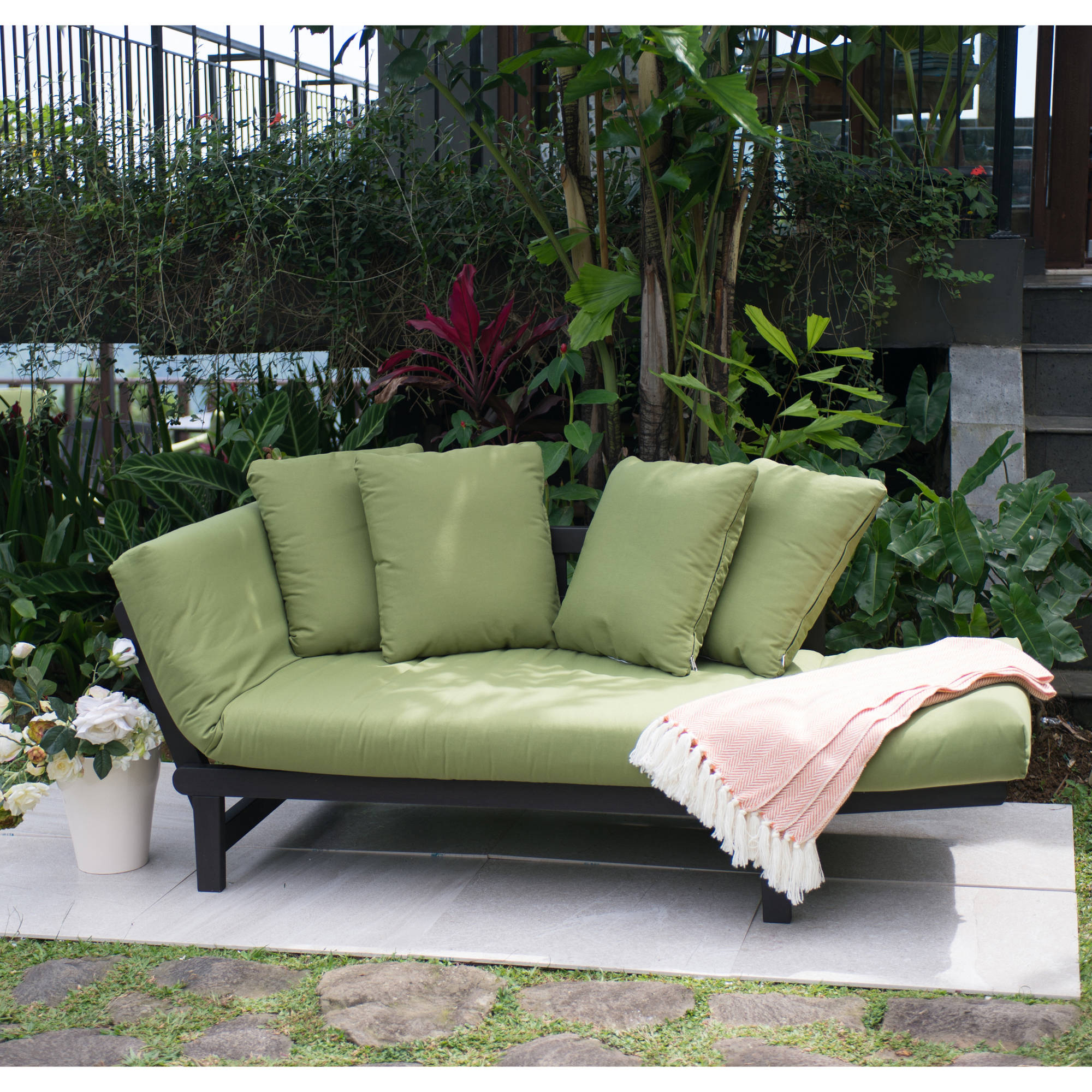 Better Homes And Gardens Delahey Outdoor Daybed With Cushions Green