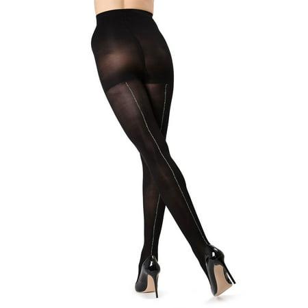 (MeMoi Havana Lurex Backseam Tights - Glam Opaque Tights for Women by MeMoi Medium/Large / Black/Silver MO 353)