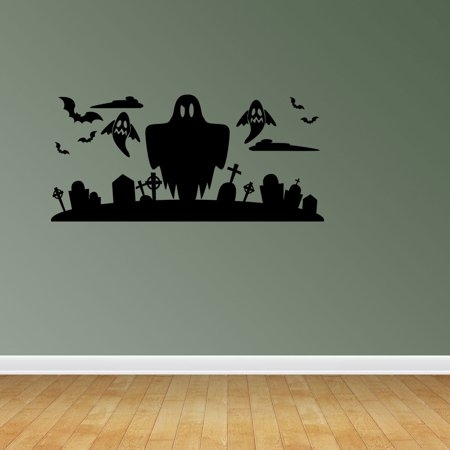 Wall Decal Quote Halloween Scene Ghost Halloween Decal Halloween Sticker Window Decal Ghost Silhouette Decoration JP658 - Halloween Quotes Pinterest