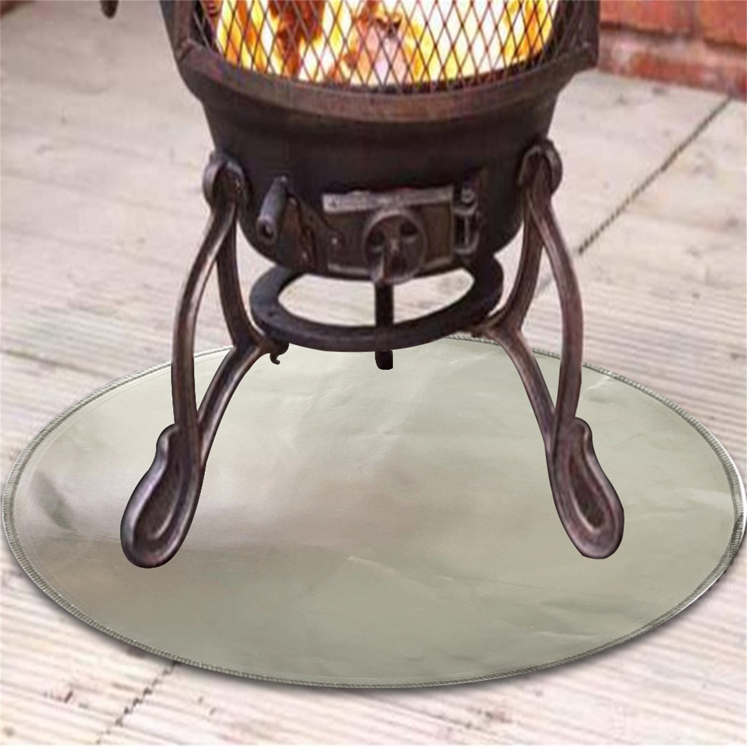 24 inch 24 Inch Round Grill And Fire Pit Mat BBQ Smoker Outdoor Patio And Grass From High Radiant Heat Charcoal Grill Gas Fire Pit 3Layer,Under Grill Mat Protector For Wood Burning Fire Pit