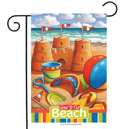 - gone to the beach summer garden flag nautical sand castles 12.5