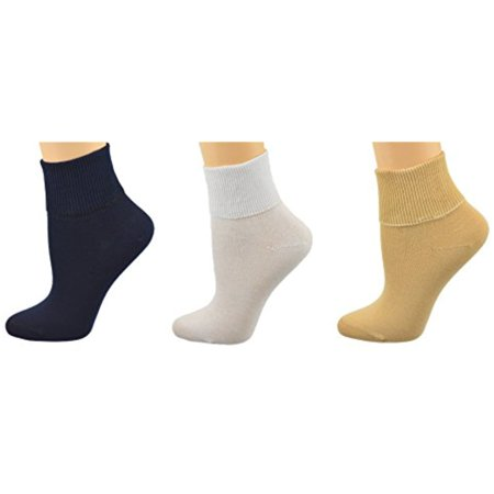 Sierra Socks Women's 3 Pair 100% Cotton Ankle Turn Cuff Seamless Toe (10 (Fits Shoe Size 7 1/2 - 9), Assorted (Navy/Khaki/White))