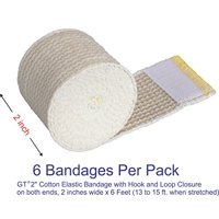 "GT 2"" Cotton Elastic Bandage with Hook & Loop Closure on both ends, 2 inches wide x (13 to 15 ft. when stretched), 6 Pack"