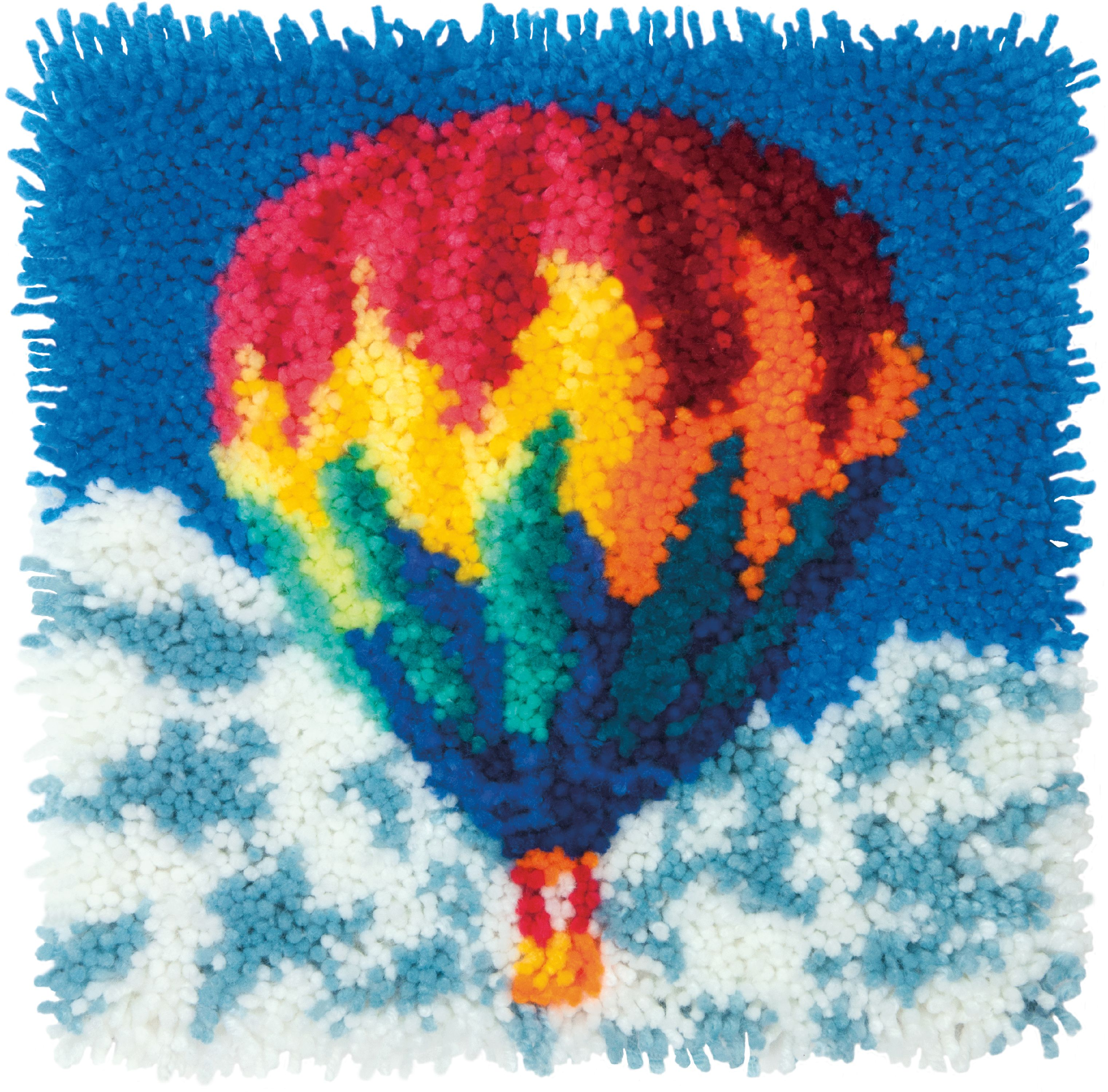 "Dimensions Latch Hook Kit 12""X12""-Hot Air Balloon"