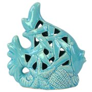 Urban Trends Perforated Design Fish on Seaweed Base Figurine