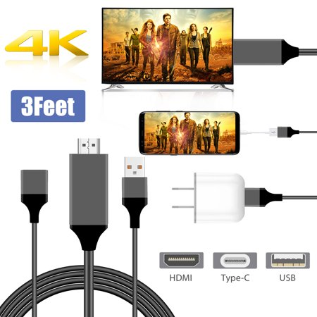 Type C to HDMI Media HDTV Adapter 1080P 3ft Cable 8 Pin for Samsung Galaxy S7 S8 S9 S10 Note 5 6 7 10 iPhone X XR XS Max 8 Plus MacBook Projector Monitor(3 in1) ()