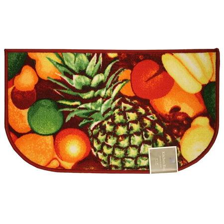 Kitchen Rug, Area Rug, Mat, Carpet, Non-Skid Latex Back (18x30 D-Shape, Pineapple)