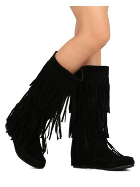 962f88bf3b1 Product Image Refresh Jolin-02 Women Knee High Faux Suede Cascading Fringe  Moccasin Boot. Product Variants Selector. Black