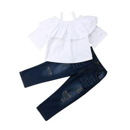 2PCS Baby Kids Girls Off-Shoulder Tops T-Shirt Denim Jeans Pant Sets Outfits for 3-8Y Kids Girl Clothes Pants Set (Girl For Kids)