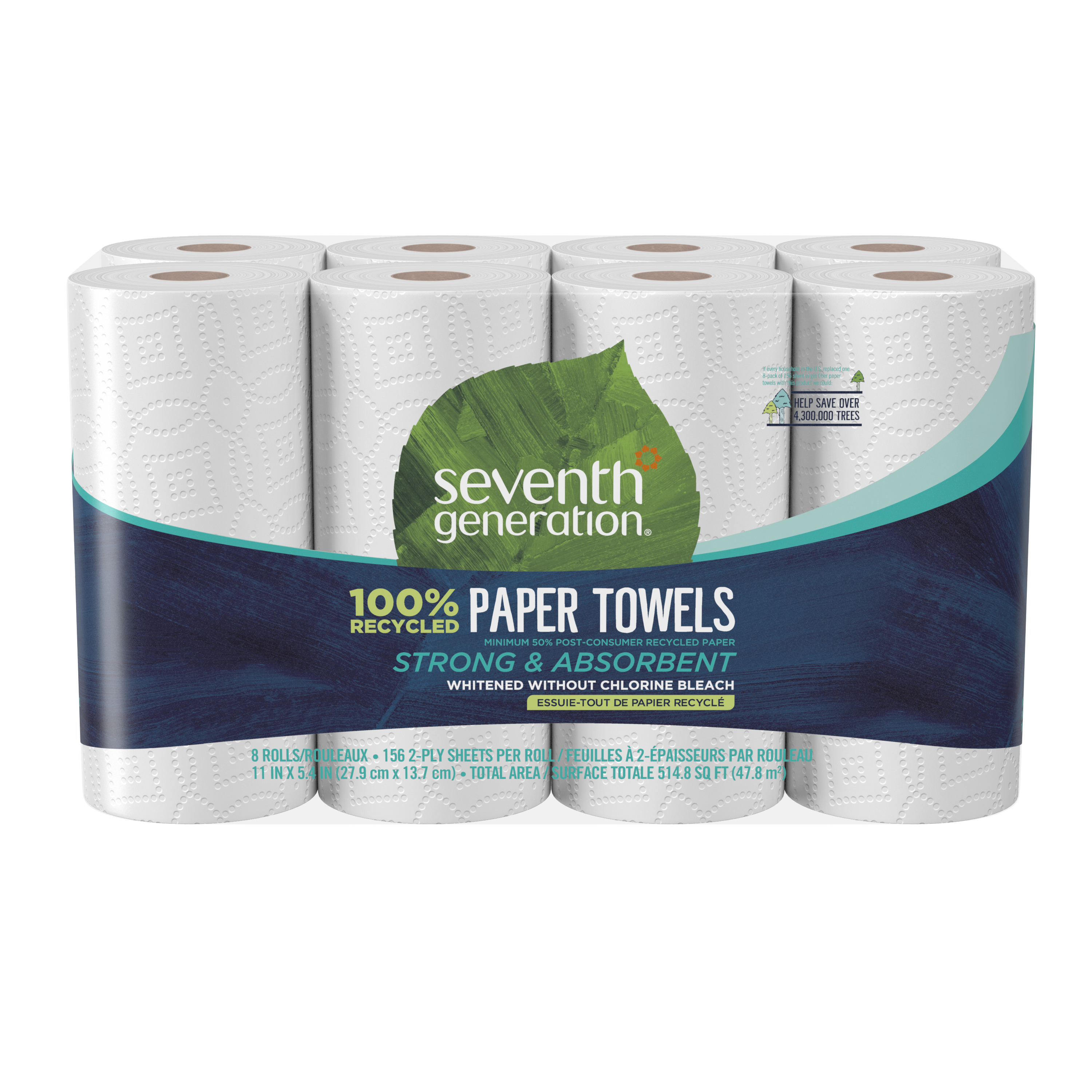 Seventh Generation Jumbo Paper Towels 100% Recycled Paper 8 Rolls