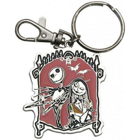 Christmas Keychain (Nightmare Before Christmas Jack Skellington & Sally Pewter Keychain )