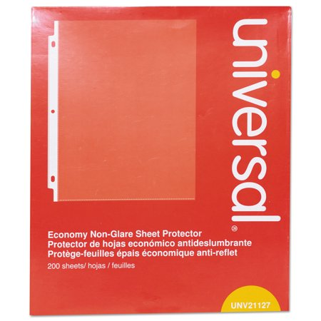 Universal Top-Load Poly Sheet Protectors, Nonglare, Economy, Letter, 200/Box -UNV21127