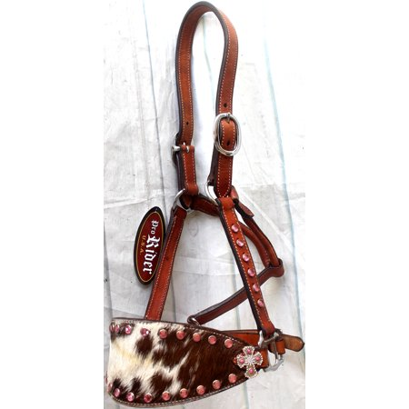 Horse Noseband Tack Leather Bronc Show HALTER Tiedown  28132 Kensington Leather Halter