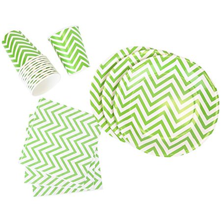 Just Artifacts Disposable Party Tableware 44 Pieces Chevron Pattern Dining Set (Round Plates, Cups, Napkins) - Color: Green Apple - Decorative Tableware for Parties, Baby Showers, and Life Celebration - Baby Green Color
